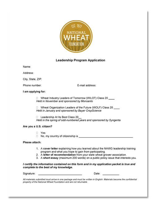 leadership training national wheat foundation do you want to apply for a leadership training program
