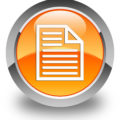 Document page icon isolated on glossy orange round button abstract illustration